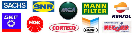 Marques : Redex, Mahle Original, Bosch, Textar, Sachs, Sasic, Castolin Eutectic, MGA, Amortisseur Record
